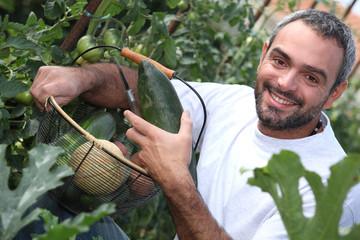 man with vegetable basket