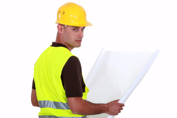 Engineer with plans
