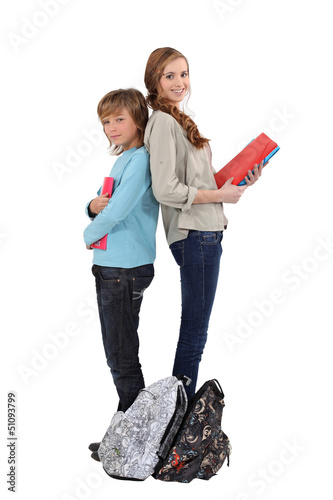 Brother and sister with homework