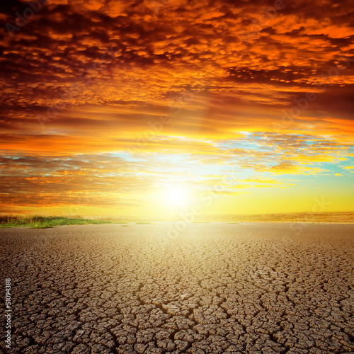 good red sunset over drought eart