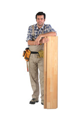 Man stood with laminate flooring