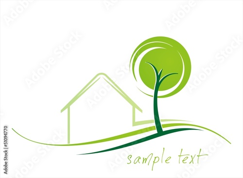Home , tree, green icon, business logo design