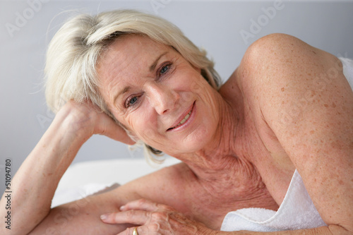 Retired woman at the spa