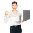 Woman in white shirt with  laptop and credit card