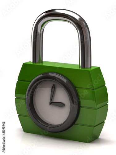 Padlock with clock. Concept of opening hours