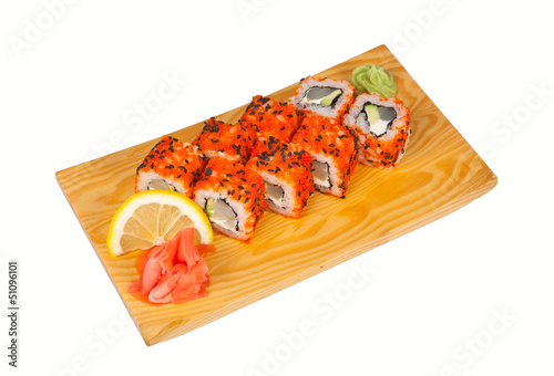 Sushi roll with cream cheese isolated on white