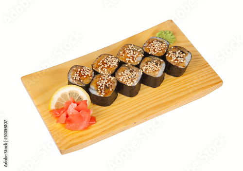 Sushi rolls with eel isolated on white