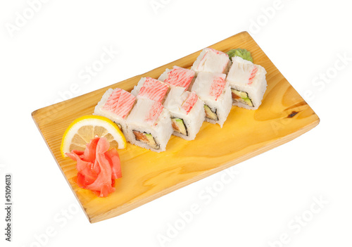 Sushi roll Alaska isolated on white