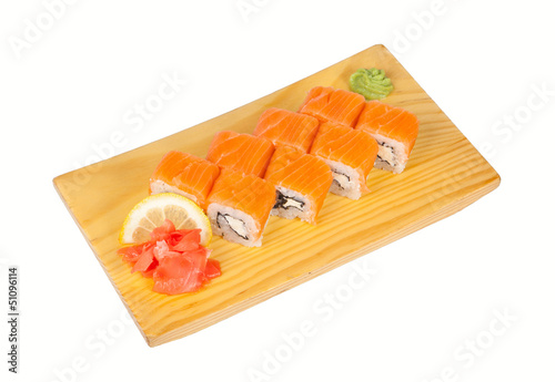 Sushi roll Philadelphia isolated on white
