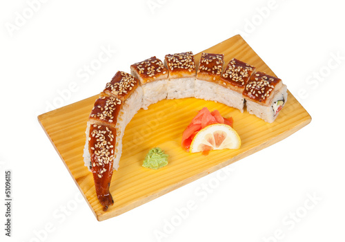 Sushi roll Dragon isolated on white
