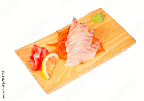 Sashimi with rudderfish isolated on white