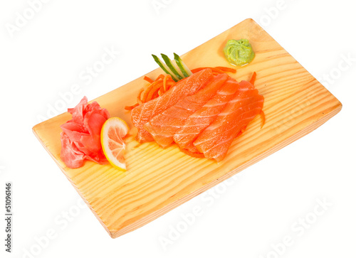 Sashimi with salmon isolated on white