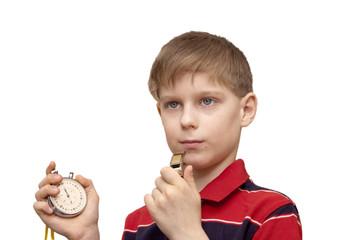 Ребенок -тренер с секундомером и со свистком