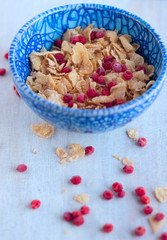 corn flakes and red berries frozen