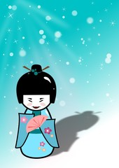 Traditional japanese doll with snow