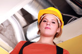 Woman in a hardhat