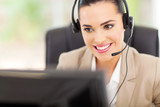 support center operator with headset