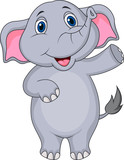 Cute elephant cartoon waving hand