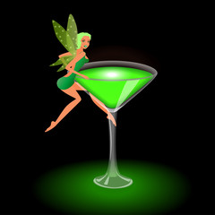 Beautiful green fairy on a glass of absinthe