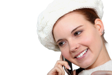 lovely woman making a call and looking happy