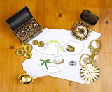 Pirate blank map with treasure, coins, medal, ring and map