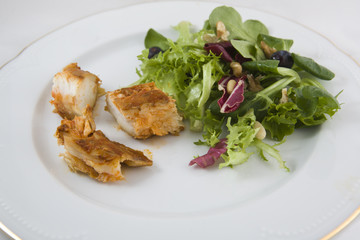 Dogfish marinated on plate