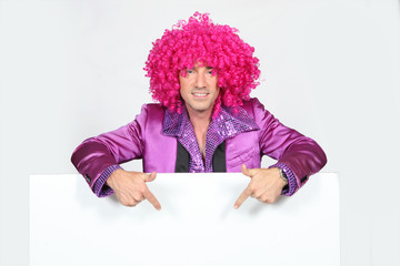 man in disco costume