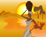 African girl with a pitcher goes to fetch water, vector poster
