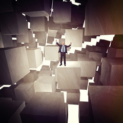 man and 3d cubes