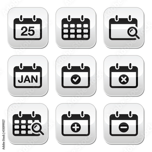 Calendar date vector buttons set