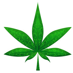 glass marijuana leaf