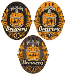 set oval label with a beer keg and the word brewery