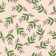 Seamless stylized leaf pattern background