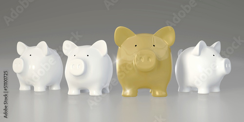 Piggy bank - row with big golden pig