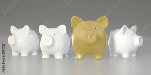 Piggy bank - row with big golden pig