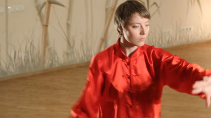 female martial artists in the room -medium shot