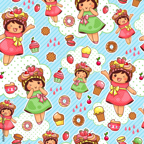 Sticker seamless pattern with cute girls and sweets
