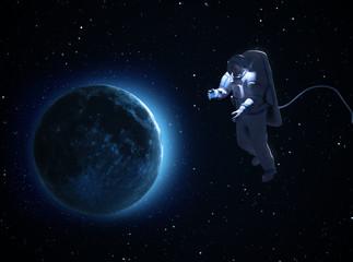 An astronaut spacewalk