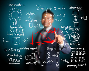 business man writing cost reduction concept by many process