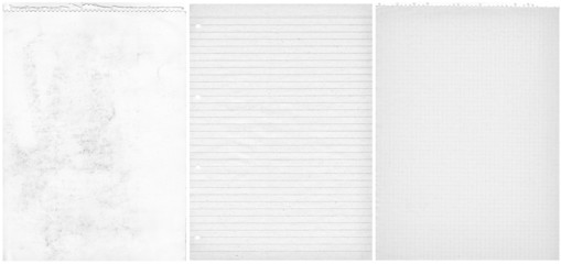 Three teared papers background. White old sheets