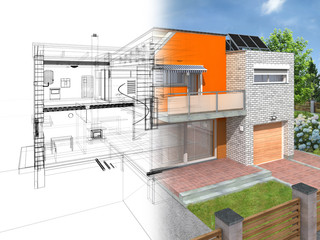 Modern house in section with visible infrastructure in interior