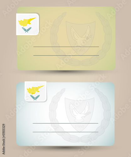 business card with flag and coat of arms of Cyprus