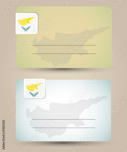 business card with flag and map of Cyprus