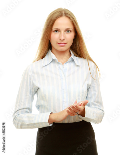 Smiling woman clapping isolated on white background