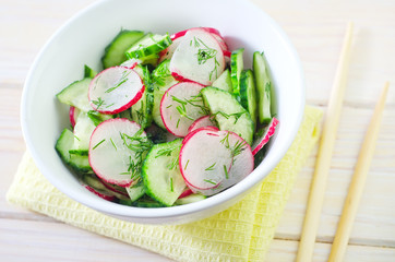 fresh salad with cucumber and radish