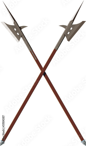 Two crossed battle halberds