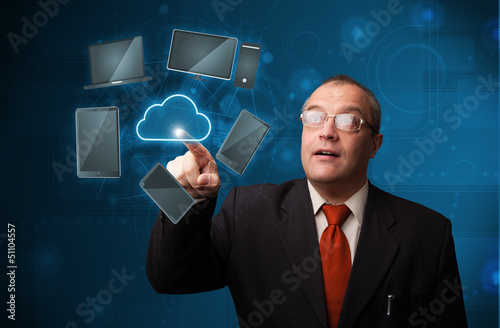 Businessman touching high technology cloud service
