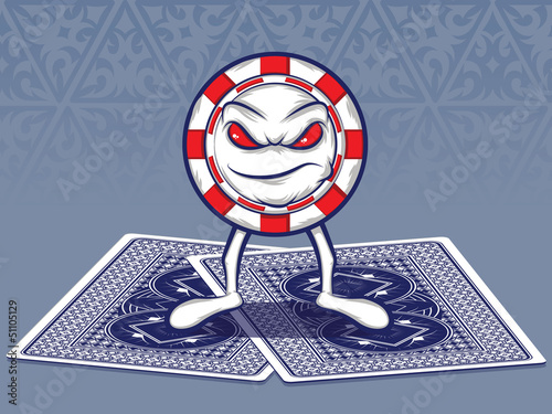 Poker Chip Character Standing on Two Poker Cards