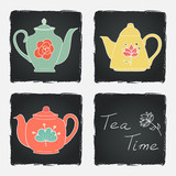 Set of different tea pots on chalkboard background.
