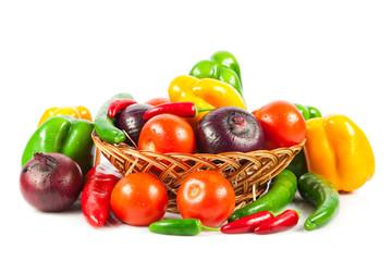 Fresh vegetables in basket isolated on white. Bio Vegetable.  Co